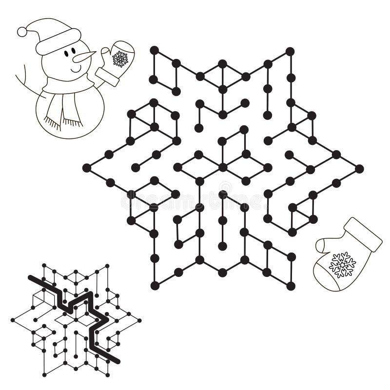 Snögubbesökande vägen Ungelabyrintlek som ska färgas stock illustrationer