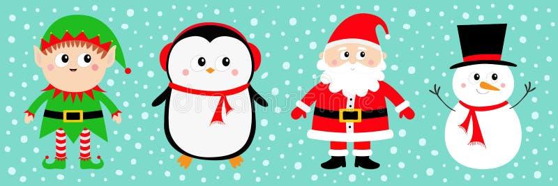 SnögubbeSanta Claus Elf Penguin uppsättning lyckligt nytt år glad jul Röd grön svart hatt Behandla som ett barn den roliga kawaii stock illustrationer