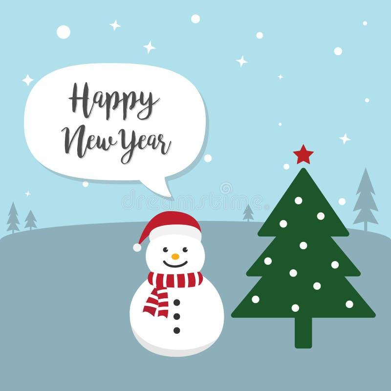 Snögubbetecknad filmtecken Gullig snögubbe som bär den Santa Claus hatten stock illustrationer