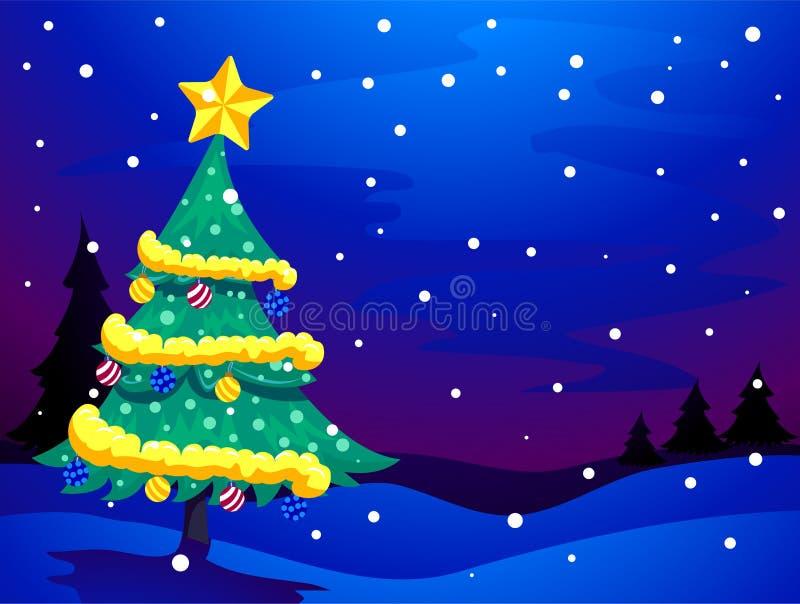 Snöig aftonbakgrund för julgran royaltyfri illustrationer