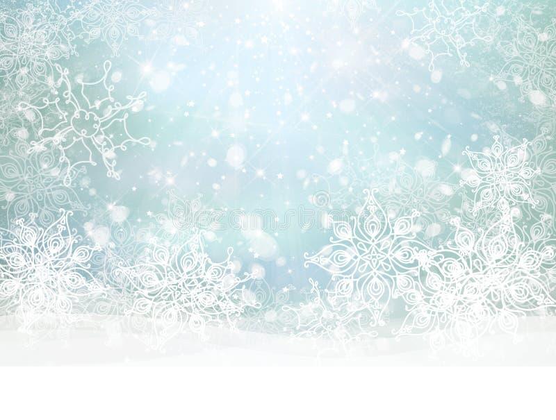 Snöig bakgrund för vektorvinter royaltyfri illustrationer