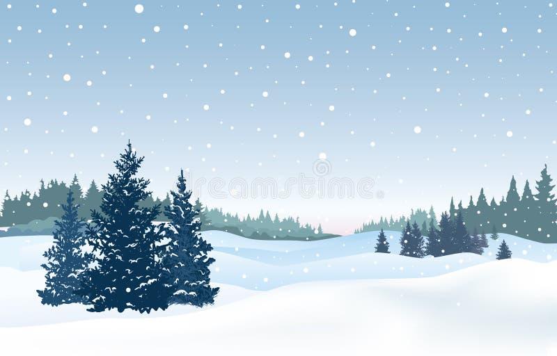 snöig bakgrundsjul Snövinterlandskap Retro glat C vektor illustrationer