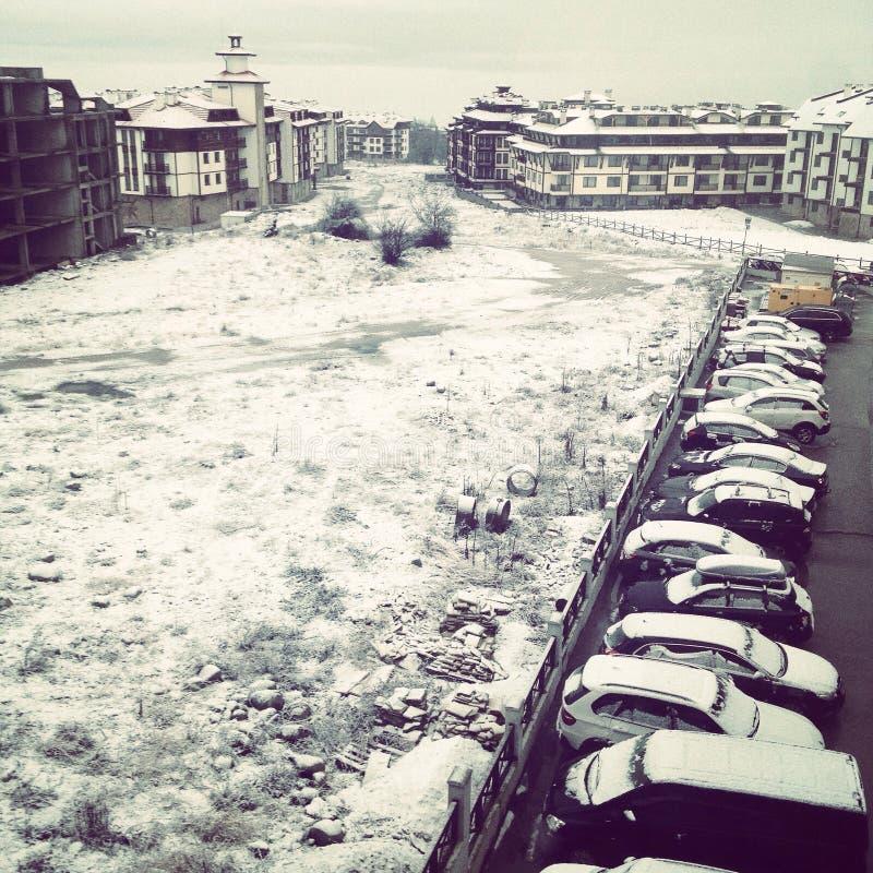 Snöig Bansko fotografering för bildbyråer