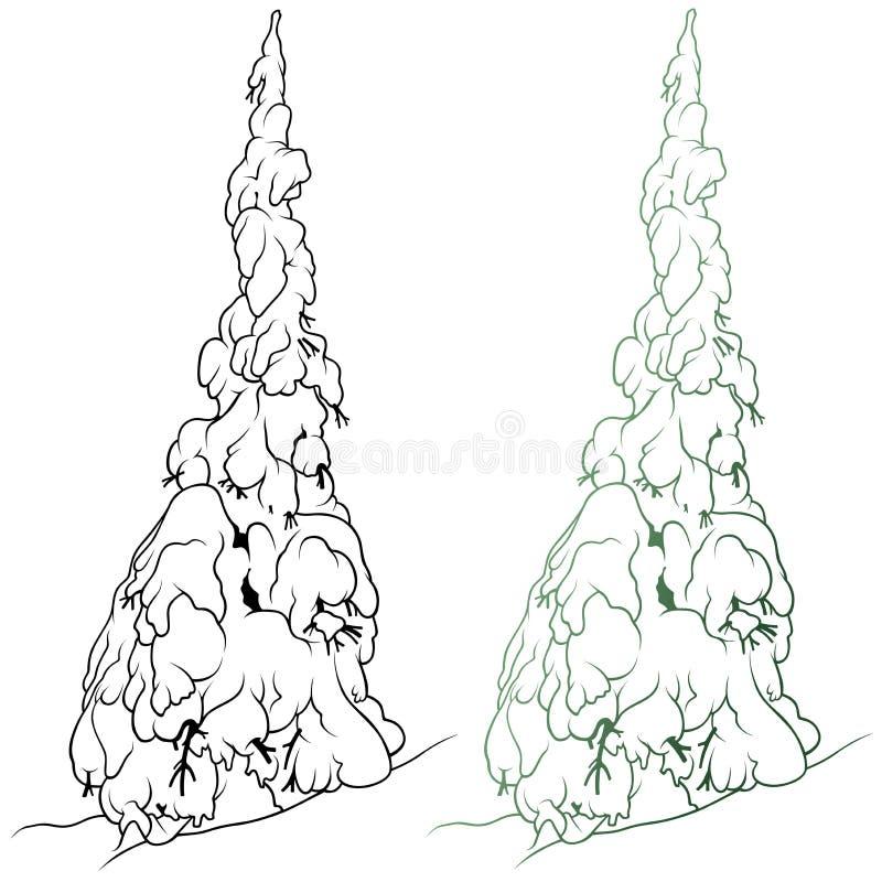 Snöig barrträd vektor illustrationer
