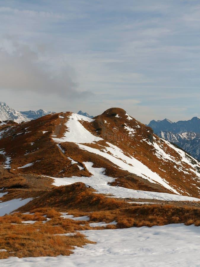Snöig berg för vinter Bergssida som täckas av orange gräs och snö arkivfoto