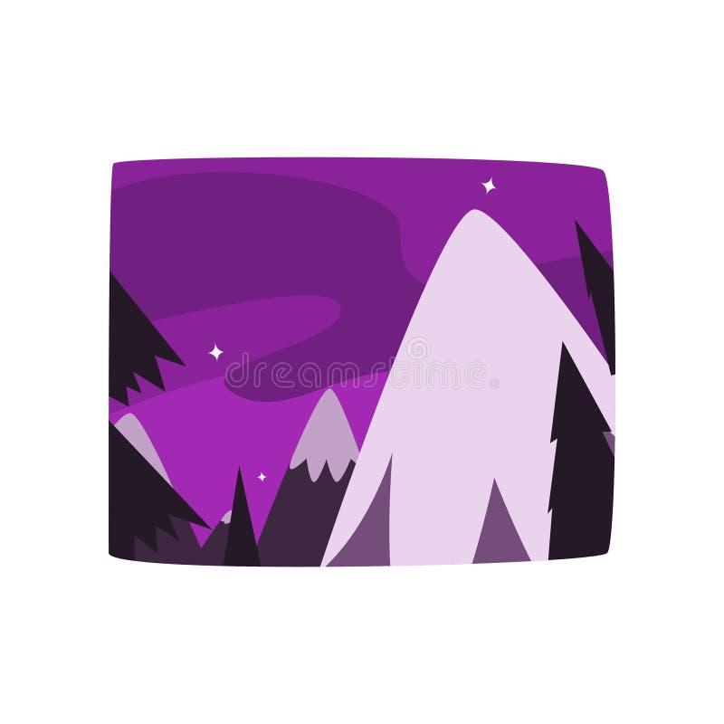 Snöig berg på nattetid, härlig landskapbakgrund, horisontalvektorillustration vektor illustrationer