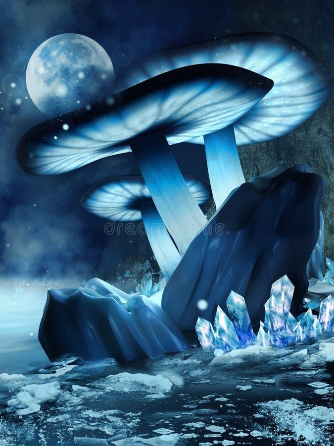 Snöig champinjoner och kristaller vektor illustrationer