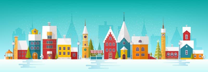 Snöig cityscape eller landskap med staden Stadsgata med fasader av antika torn och byggnader som dekoreras för nytt år vektor illustrationer