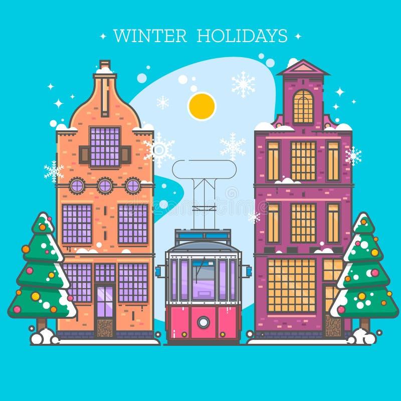 Snöig gata benches staden räknad stads- vinter för liggandesnowtrees Lyckligt feriebaner för julkort i modern plan linjär stil stock illustrationer