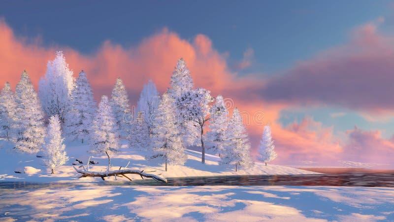 Snöig granskog och djupfryst flod på solnedgången royaltyfri fotografi