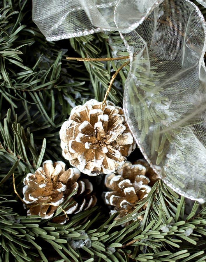 Snöig granträd med gran-kotte och för garnering det vita bandet arkivfoto