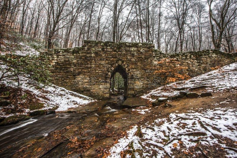 Snöig historisk Poinsett bro och ström nära södra Greenville royaltyfri foto