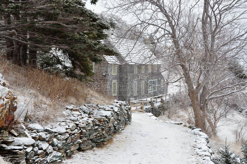 snöig husväg arkivbilder