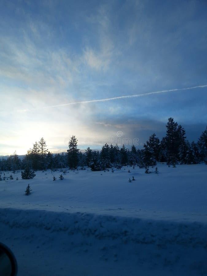 Snöig huvudväg royaltyfri bild