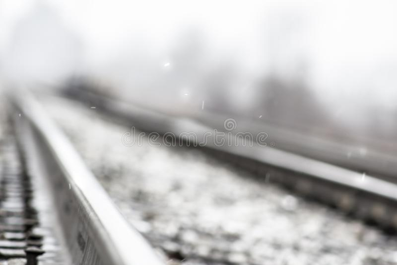 Snöig järnväg royaltyfri foto