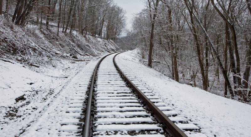 Snöig järnvägspår royaltyfria bilder