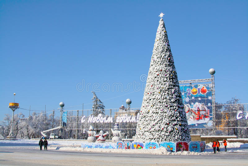 Snöig julgran på på Ploshhad'en Pavshih Borcov (fyrkanten av de stupade kämparna) i Volgograd fotografering för bildbyråer