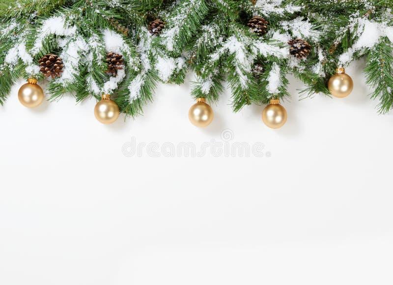 Snöig julguld smyckar att hänga i granträdfilialer arkivfoto