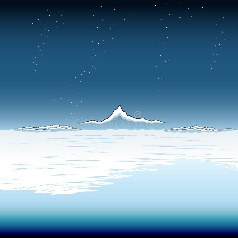 Snöig kust- slätt royaltyfri illustrationer