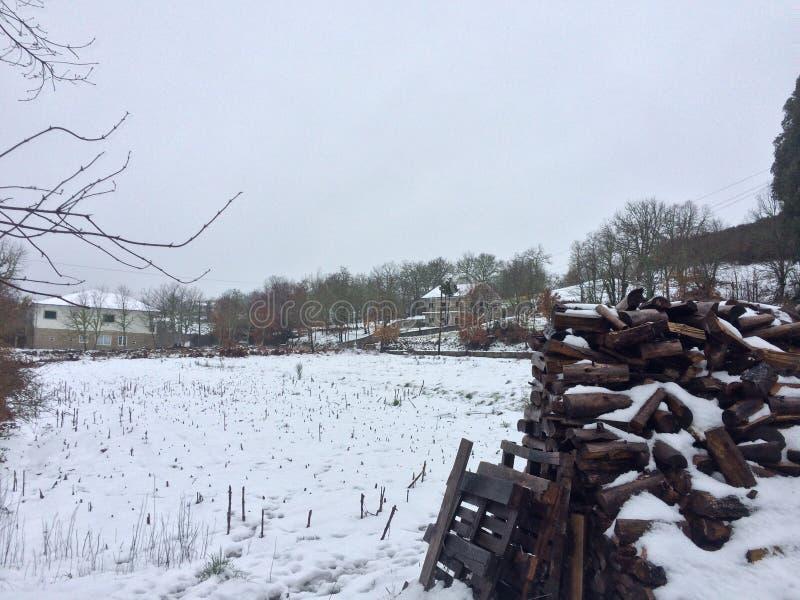 Snöig landskap i norden av Portugal royaltyfri bild