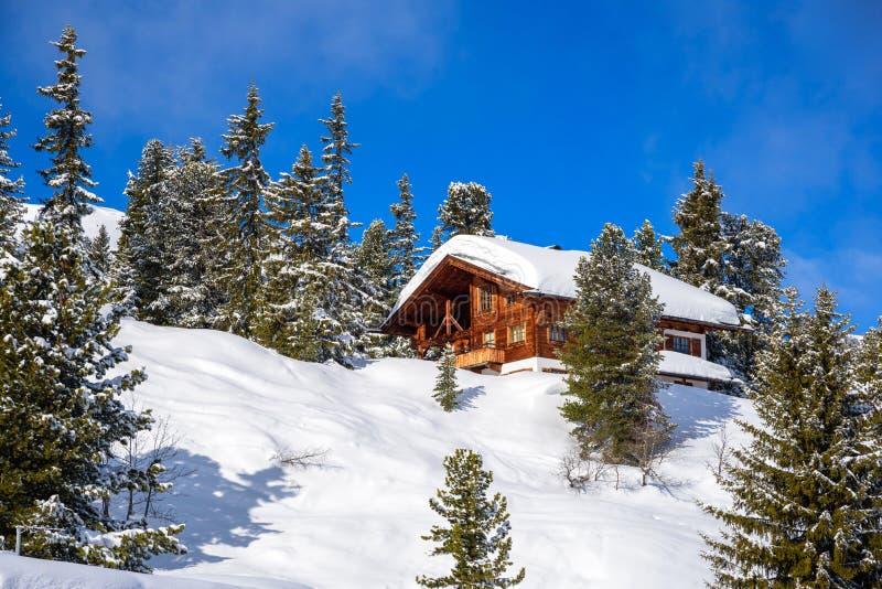 Snöig landskap - vinter skidar semesterorten i Österrike - Hochzillertal royaltyfria bilder