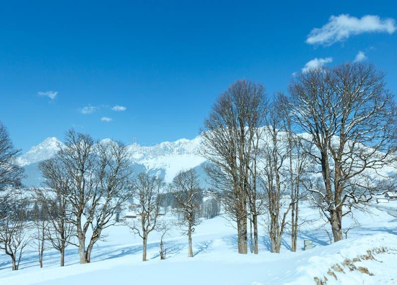 Snöig lantligt landskap för vinter (Österrike). arkivbild