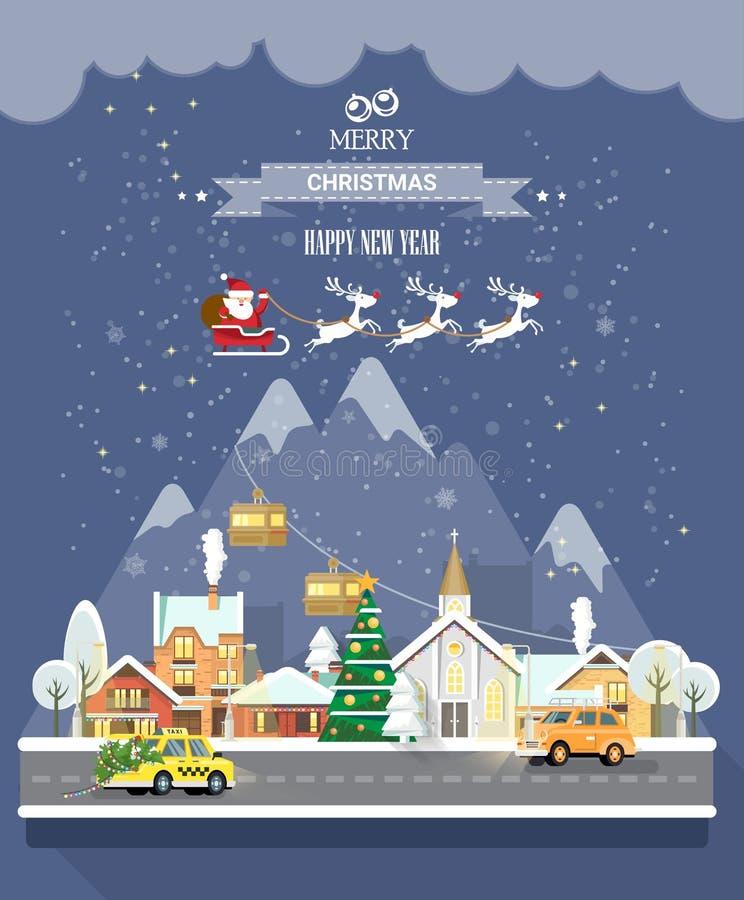 Snöig mjuk jul Stadsgata med taxibilen som bär Xmas-trädet med ljus stock illustrationer