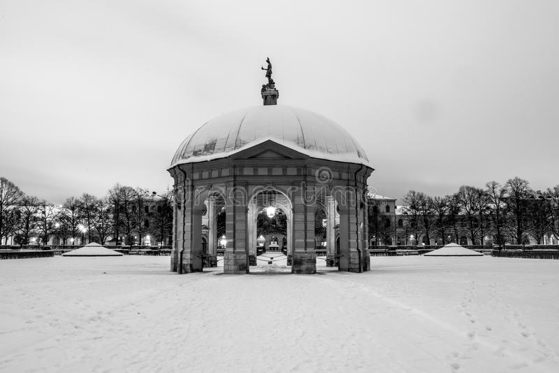 Snöig Munich Hofgarden royaltyfri bild