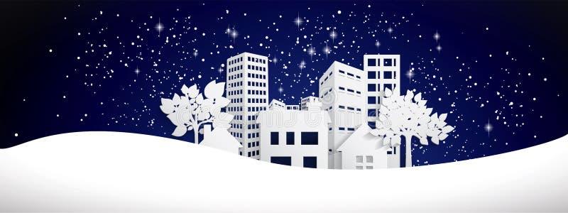 Snöig pappers- stadbaner royaltyfri illustrationer