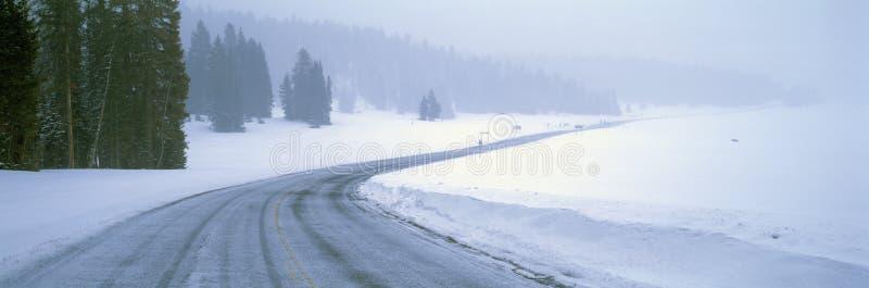 Snöig Route 14 arkivbild