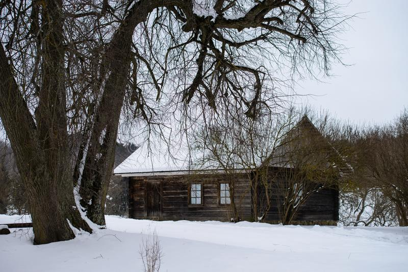 Snöig rysk bygd Traditionellt trähus i fält royaltyfri bild
