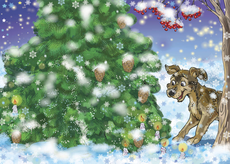Snöig skog stock illustrationer