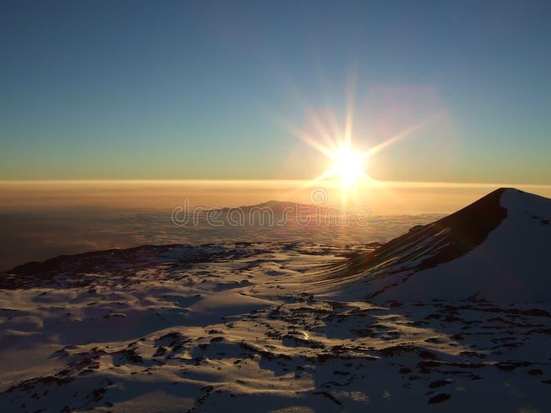 snöig solnedgång för hawaii keamauna royaltyfria bilder