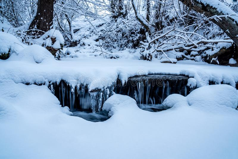 Snöig ström fryst vatten royaltyfri fotografi