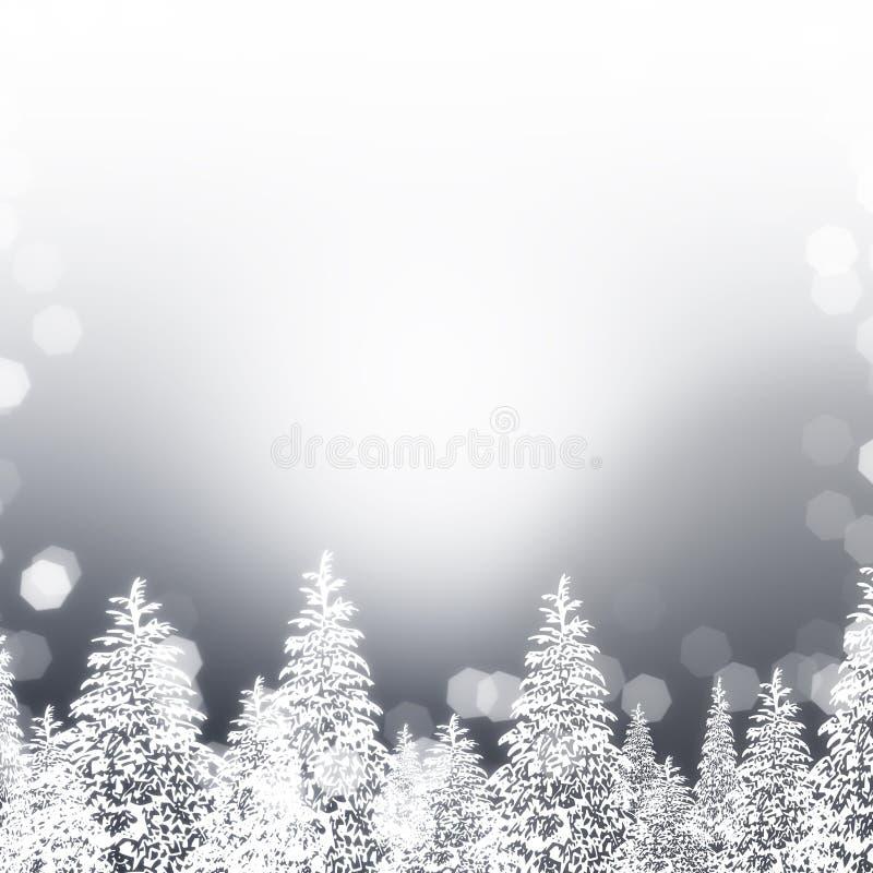 Snöig träd för silver stock illustrationer