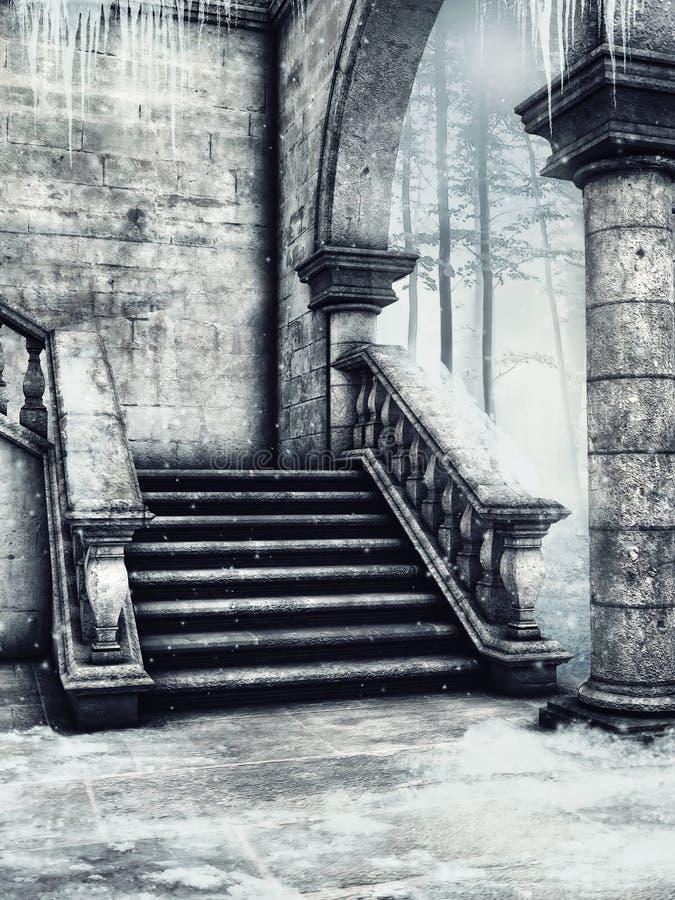 Snöig trappa med istappar stock illustrationer