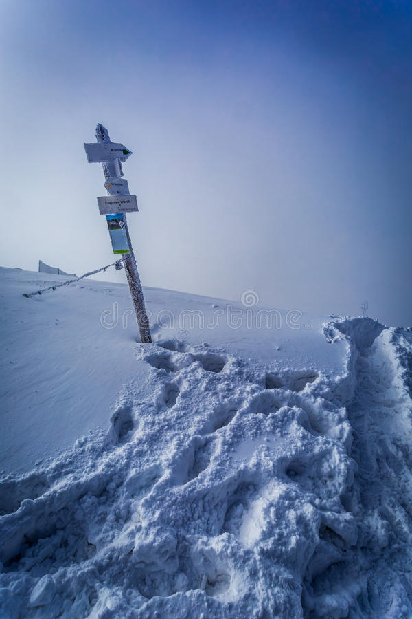 Snöig vägvisare på ett bergmaximum royaltyfri foto