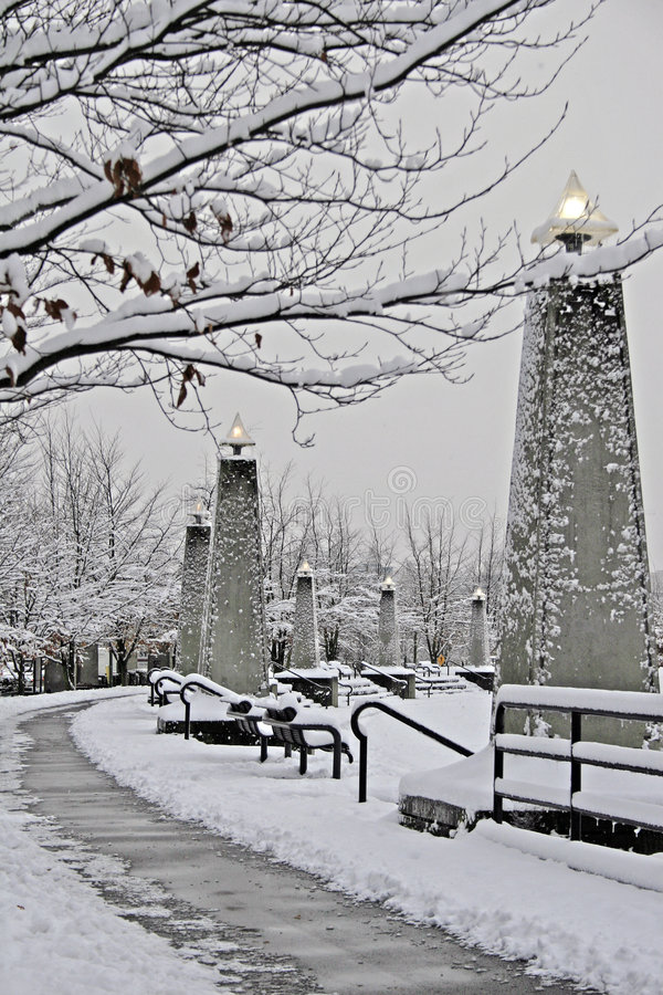 snöig vancouver går royaltyfri bild