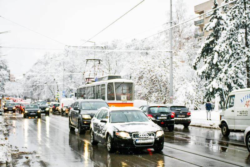 Snöig vinter royaltyfria foton
