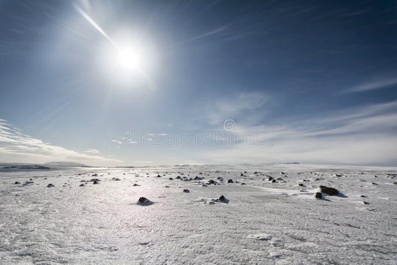 Snöig vinterlandskap på Pingvellir, sydliga Island royaltyfria foton