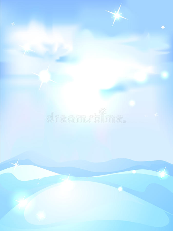 Snöig vinterlandskapbakgrund - lodlinje stock illustrationer