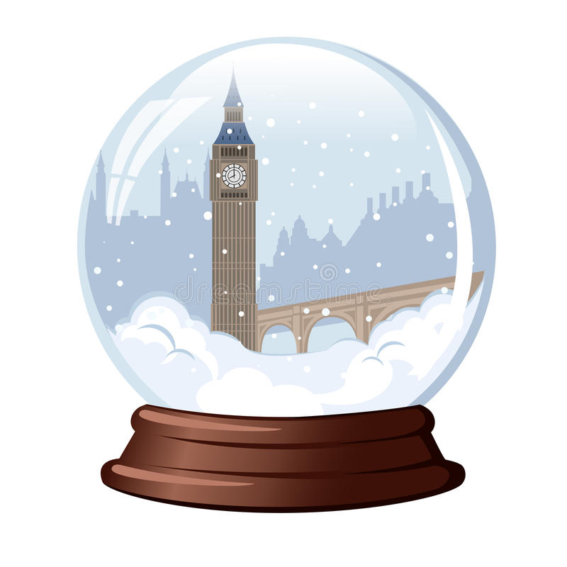 Snöjordklot Big Ben stock illustrationer
