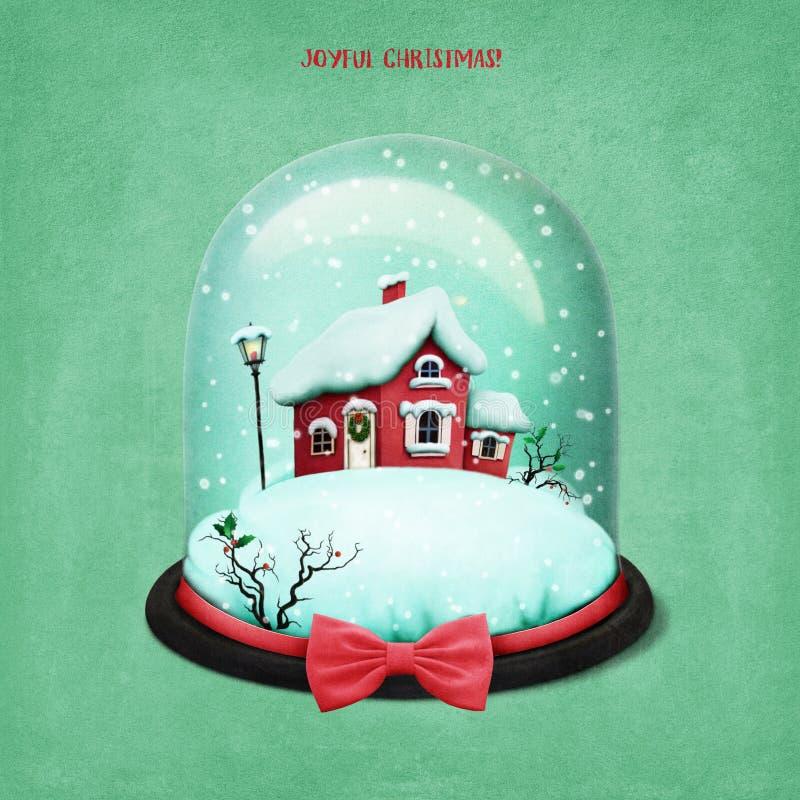Snöjordklot med julhuset vektor illustrationer
