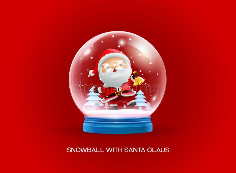 Snöjordklotboll med lyckligt nytt år Santa Claus för glad jul stock illustrationer
