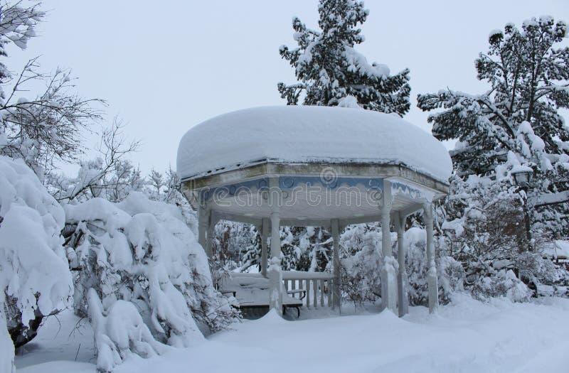 Snölandskapet i stad parkerar royaltyfri foto