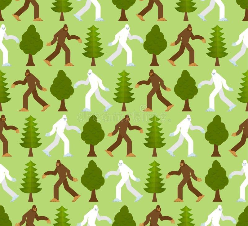 Snöman i den sömlösa skogmodellen Bigfoot och trädbakgrund r sasquatchtextur stock illustrationer