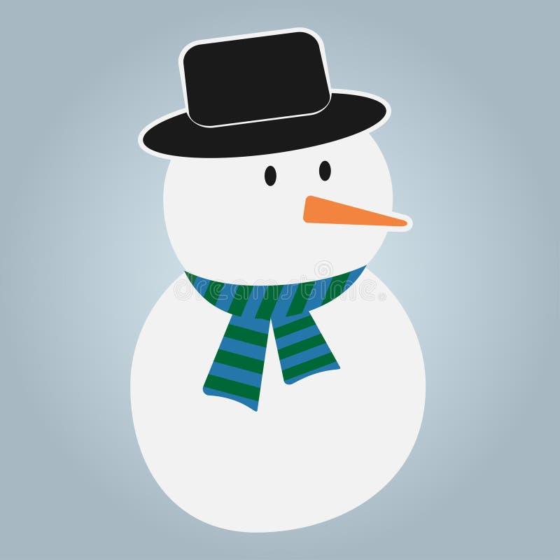 Snöman i hatt och scarf Nytt årstecken stock illustrationer