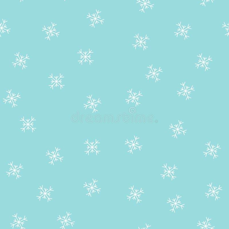 Snömodell Vintersnöflingor bakgrund, sömlös modell illustration vektor illustrationer