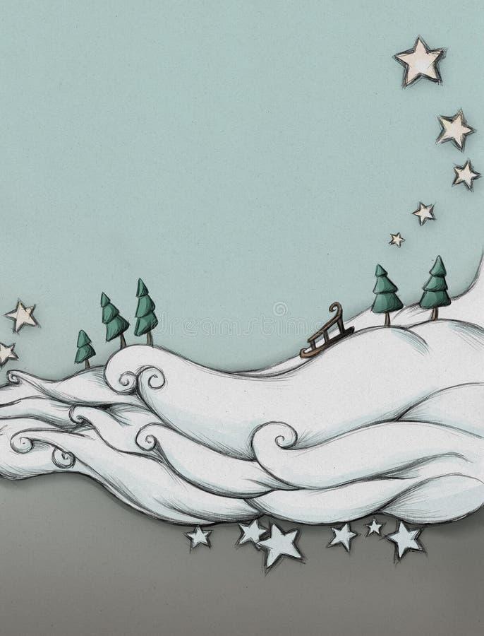 Snömoln med släden vektor illustrationer