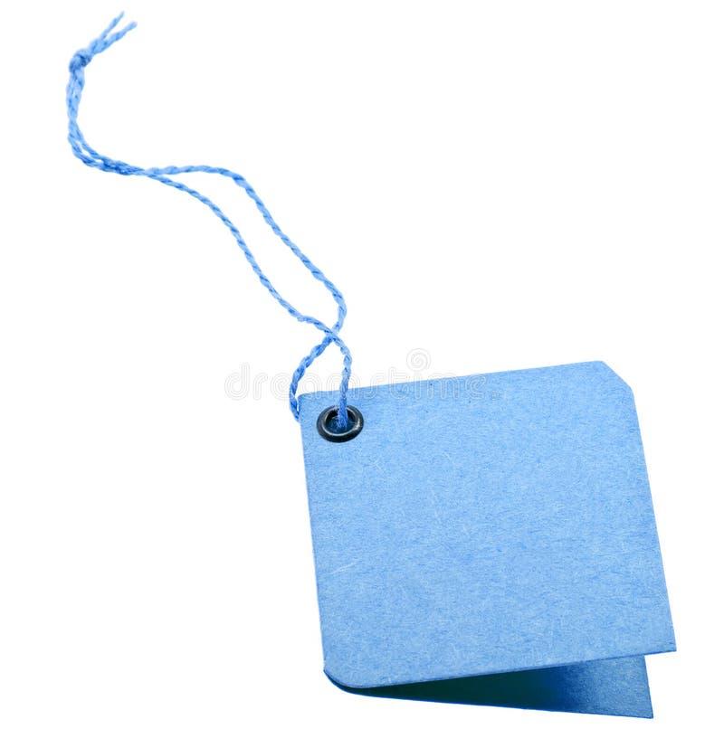 snör åt den blåa lådan isolerade etiketten shoppar white royaltyfria foton